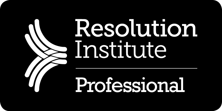 Resolution Institute logo. Mediation. Accredited Mediator